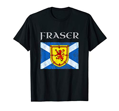 (Fraser Scottish Clan Name T Shirt Coat Arms Lion Flag)