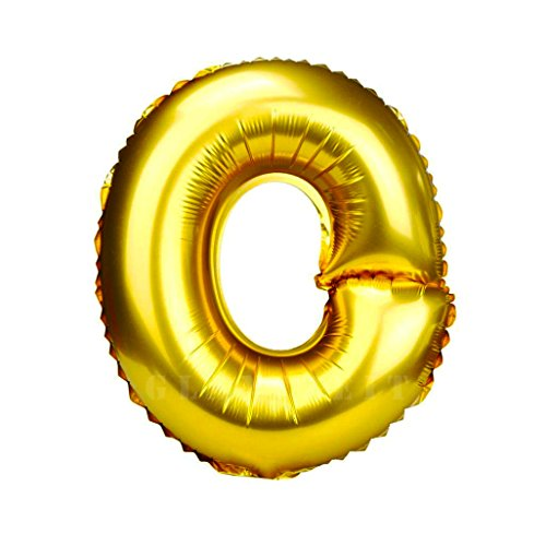 Glanzzeit 32 Inch Gold Foil Balloons Letters A to Z Numbers 0 to 9 Wedding Birthday Holiday Party Decoration (Letter O)