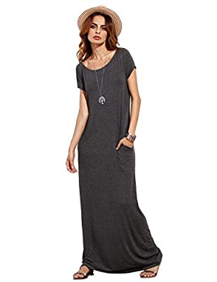 MakeMeChic Women's Short Sleeve Loose Casual Plain Long Maxi Dress