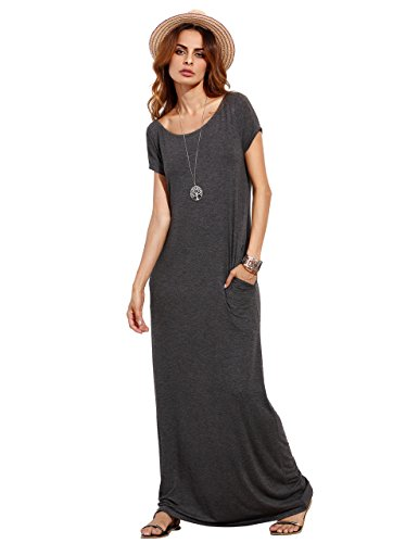 MAKEMECHIC Women's Short Sleeve Loose Casual Plain Long Maxi Dress Grey M
