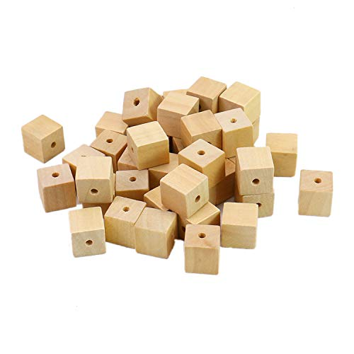 - Monrocco 100pc 14mm Natural Color Unfinished Wood Square Spacer Beads for DIY Project and Building Projects