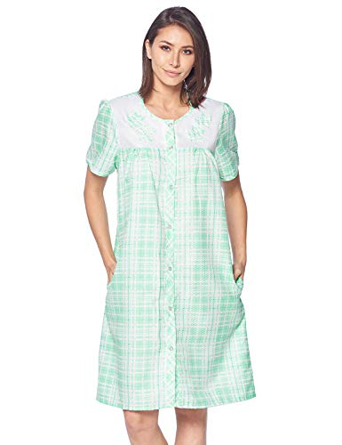 Casual Nights Women's Snap Front House Dress Embroidered Short Sleeve Seersucker Duster Housecoat Robe Lounger, Plaid Green, 3X-Large ()