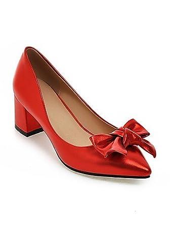 GGX/ Zapatos de mujer-Tacón Robusto-Tacones-Tacones-Exterior / Oficina y Trabajo / Casual-Sintético-Negro / Rosa / Rojo / Plata , silver-us8.5 / eu39 / uk6.5 / cn40 , silver-us8.5 / eu39 / uk6.5 / cn4