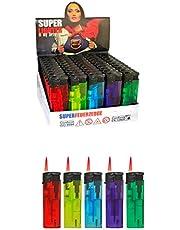 h2i 50-200 stuks wegwerpaanstekers kleurrijk met wrijvingswiel of jetvlam (d. 50 stuks Jet Flame)