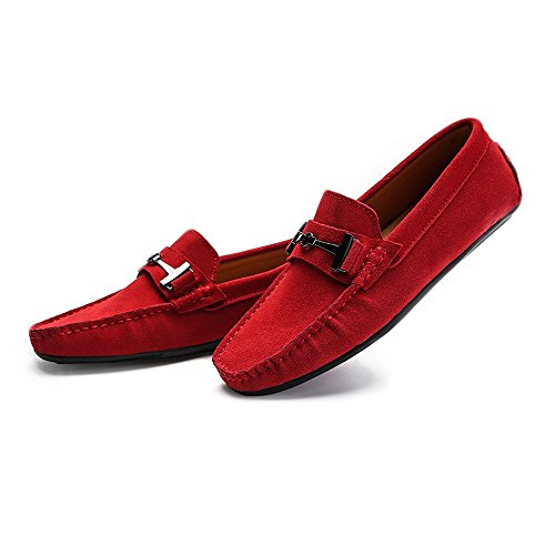 Men's Driving Loafers Suede Genuine Leather Penny Moccasins Studs Sole with Metal Button Decor Cricket Shoes Red Sa5gR6
