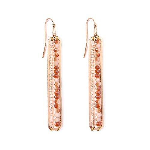 Riah Fashion Women's Beaded Bar Fish Hook Drop Earrings (Light Brown) -