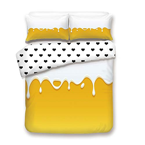 Duplex Print Duvet Cover Set King Size/Dripping White Milk Cream Paint Yogurt on Yellow Honey Background Print Decorative/Decorative 3 Piece Bedding Set with 2 Pillow Sham,Yellow Whi,Best Gift For You ()