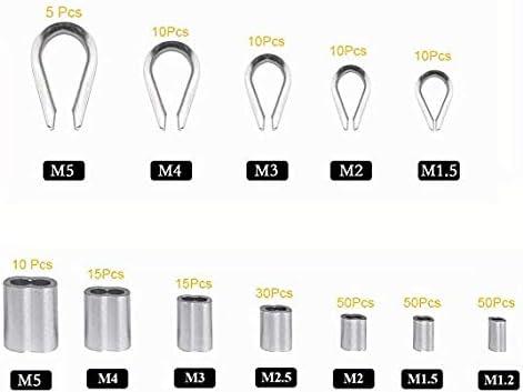 265 St/ücke Aluminiumh/ülsen Clips,Drahtseil-Kauschen aus Edelstahl Drahtseil Stahlkabel Set Kabelkauschen Combo und Aluminium Crimpschlaufen-H/ülsen-Sortiment