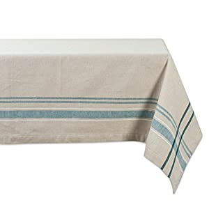 """DII 100% Cotton, Machine Washable, Everyday French Stripe Kitchen Tablecloth For Dinner Parties, Summer & Outdoor Picnics - 60x104"""" Seats 8 to 10 People, Teal"""
