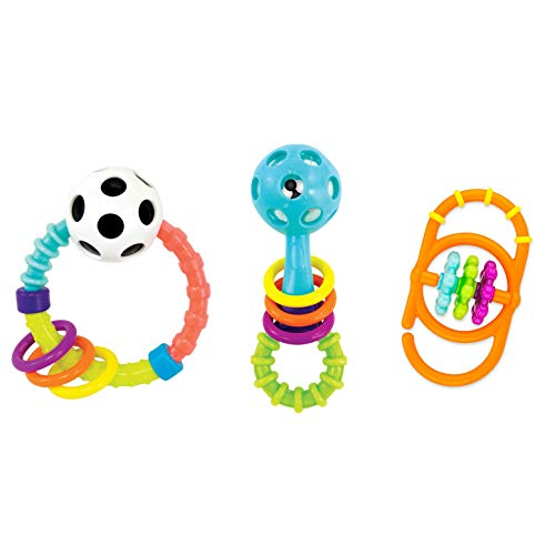 Sassy My First Rattles Newborn Gift Set with 3 Soft and Flexible Rattles, Ages 0+ Months (Set Rattles Toys)