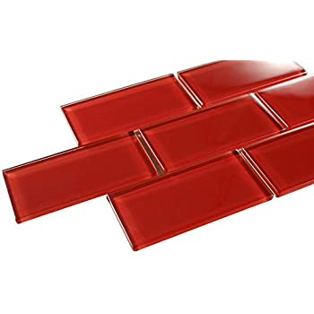 glossy hot red subway glass mosaic tiles for bathroom and kitchen walls kitchen backsplashes by vogue