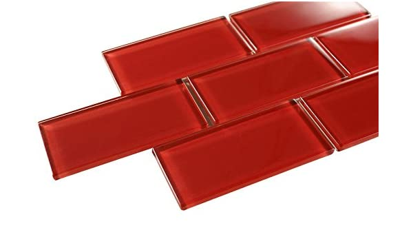 Bon Glossy Hot Red Subway Glass Mosaic Tiles For Bathroom And Kitchen Walls  Kitchen Backsplashes By Vogue Tile     Amazon.com