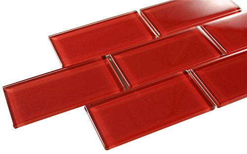 - Glossy Hot Red Subway Glass Mosaic Tiles for Bathroom and Kitchen Walls Kitchen Backsplashes By Vogue Tile
