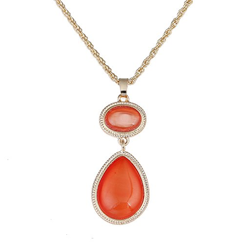 Pendant Orange Necklace - LUREME Hot Jewelry Orange Cateye Pendant Necklace for Women and Girls (nl005454)