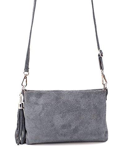 zahlreich in der Vielfalt 100% authentifiziert Exklusive Angebote Ledertasche braun schwarz blau grau klein Lederhandtasche Umhängetasche  Fransen Leder Tasche Wildleder Handtasche Damen (grau)