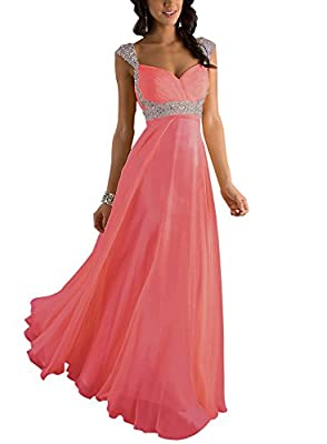 Erosebridal Sequin Beaded Long Prom Dress Gowns Sweetheart Women's Chiffon Evening Formal Dress