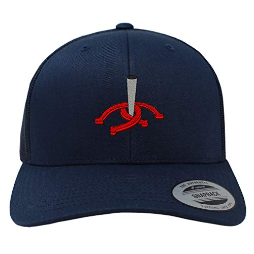 Snapback Baseball Cap Horseshoes and Stake Embroidery Team Name Cotton Mesh Hat Snaps - Navy, Design Only