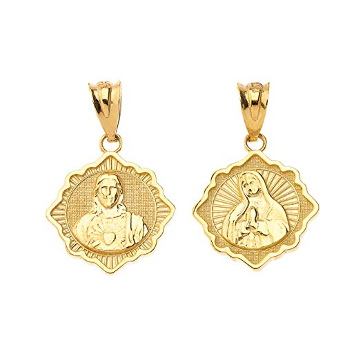 Certified 14k Gold Reversible Immaculate Heart of Mary/Sacred Heart of Jesus Religious Pendant
