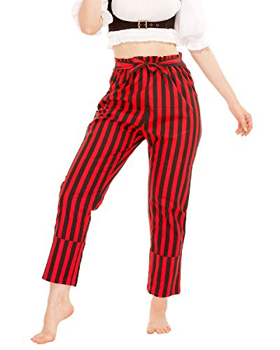 Pirate Renaissance Medieval Gothic Wench Cosplay Costume Women's Self-Tie Frill-Waist 100% Cotton Striped Pants (Black-Red) (Small)