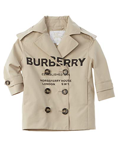 BURBERRY Girls Horseferry Print Trench Coat, 10Y, Brown