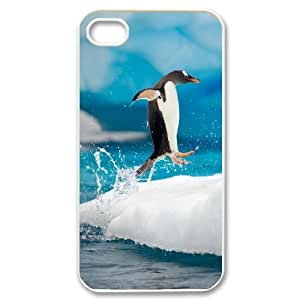 [Funny Animal Penguin] Cute Penquin Doing the Happy Feet Dance Jump onto the Ice For HTC One M9 Case Cover {White}