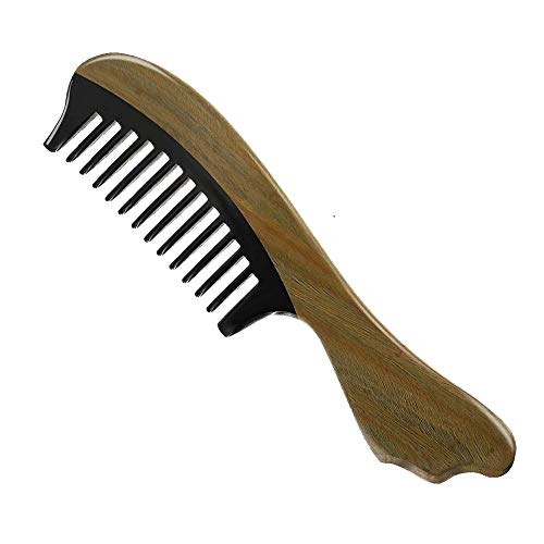 Wide Tooth Comb Buffalo Horn&Green Sandalwood Aroma Combs Anti Static Detangling Comb for Thick, Curly and Wavy ()