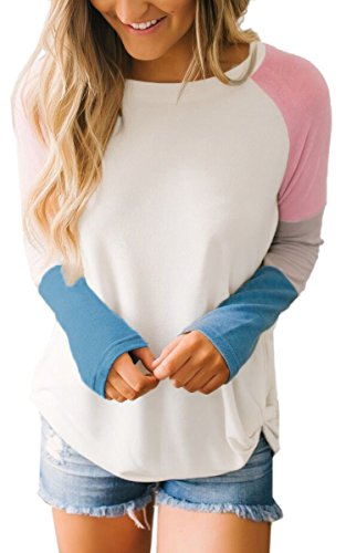 Angashion Womens Tops-Casual Long Sleeve Color Block Patchwork Draped T Shirt Blouse