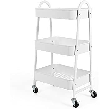 3 tier utility rolling cart with large - Bathroom storage cart with wheels ...