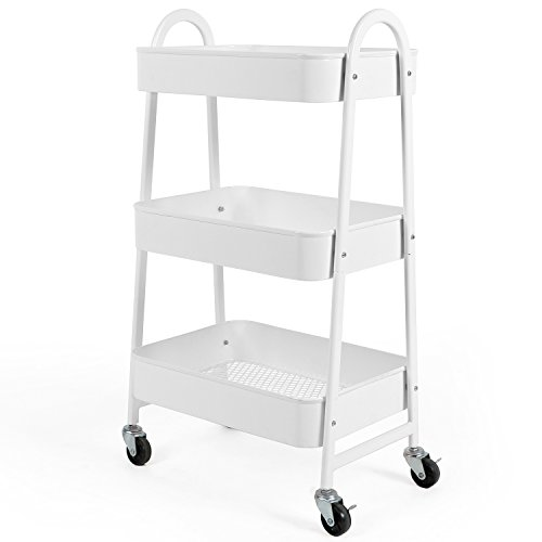 3-Tier Utility Rolling Cart with Large Storage and Metal Wheels for Office,Kitchen,Bedroom,Bathroom,White 130839