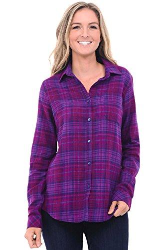 Alexander Del Rossa Womens Flannel Shirt, Button-Down Cotton Boyfriend Top