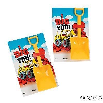 """"""" I Dig You """" Valentine Cards with Shovels (1 Doz) ()"""