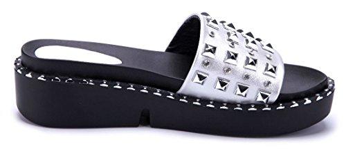 8ee74a6f8cd8b9 ... Schuhtempel24 Damen Schuhe Pantoletten Sandalen Sandaletten Flach  Nieten Ziersteine Silber ...