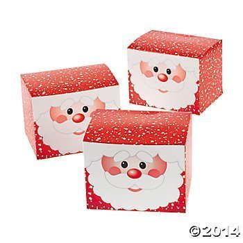 Fun Express 12 Cardboard Santa Gift Boxes/Christmas Treat Boxes Wrap/Party Supplies -