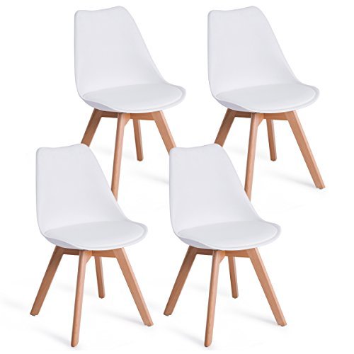 Outdoor Upholstered Materials (Giantex Mid Century Modern DSW Dining Chairs Upholstered Side Chair Wood Leg and Soft Padded White, Set of 4)