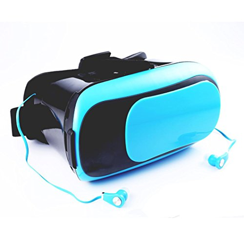 [해외]Makalon VR BOX 버추얼 리얼리티 3D 안경 블루투스 + 이어폰 러버 오일 코팅 블루/Makalon VR BOX Virtual Reality 3D Glasses Bluetooth+Earphone Rubber Oil coating BLUE