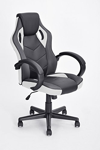 Executive Racing Style Office Chair PU Leather Swivel Computer Desk Seat High-Back Gaming Chair in Black and White by eHomeProducts
