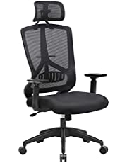 SONGMICS Swivel Mesh Office Chair with Tilt Mechanism, Height Adjustable Armrests, Ergonomic Mesh Chair with Lumbar Support, Adjustable Headrest, Chef Chair, Loading Capacity of 120 kg, OBN53BKUK