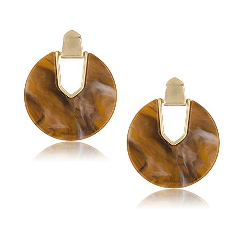 DESIMTION Acrylic Earrings Tortoise Shell Resin Earrings Statement Marble Acetate Mottled Statement Dangle Earrings for Women (Round-Brown)