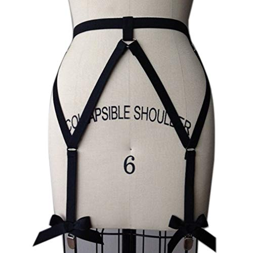 4b4b60ecc3d PETMHS Women Leg Harness Garter Belt Stockings Goth Punk Sexy Lingerie  Elastic Suspender Belt (Black