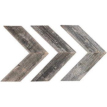 BarnwoodUSA Rustic Chevron Wood Arrow Decor (Set of 3) - 100% Reclaimed Wood (Weathered Gray)