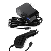 [UL Listed] Pwr+ Combo AC-Adapter-Car-Charger Bundle for Kobo-VOX-eReader, Kobo-Arc-7-10-HD, Touch-Glo-Mini-Aura Hd Ebook Digital Tablet PC Tab K080-kbo-K107-K110-N905-N514 N613 N705-kbu N204B T416 T647 (! PLEASE SEE DESCRIPTION ON TAB CHARGING!)