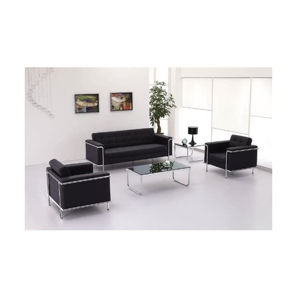 Flash Furniture HERCULES Lesley Series Contemporary Black Leather Loveseat with Encasing Frame