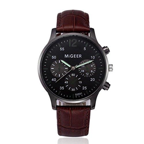 (Men's Watch, Hmlai Men's Fashion Retro Design PU Leather Band Quartz Analog Wrist Watch Chronograph Business Watches (Brown))