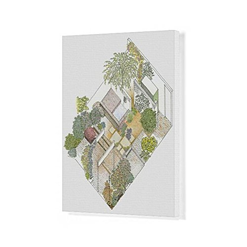 Media Storehouse 20x16 Canvas Print of Illustration of a garden containing paved and gravelled areas (13545937) (And Patio Gravel Brick)