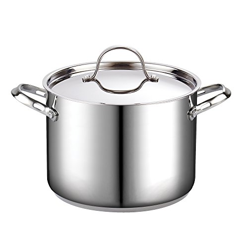 Cooks Standard 02519 8-Quart Classic Stainless Steel Stockpot with Lid, 8-QT, Silver