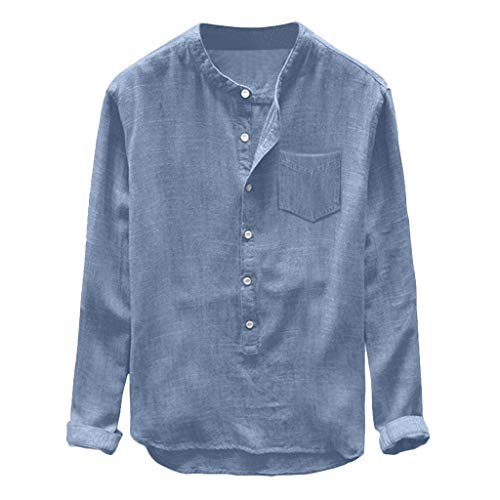 (Corriee Shirts for Men Casual Cotton Linen Long Sleeve Button Pocket T Shirt Mens Comfy Solid Color Tee Top Blue)