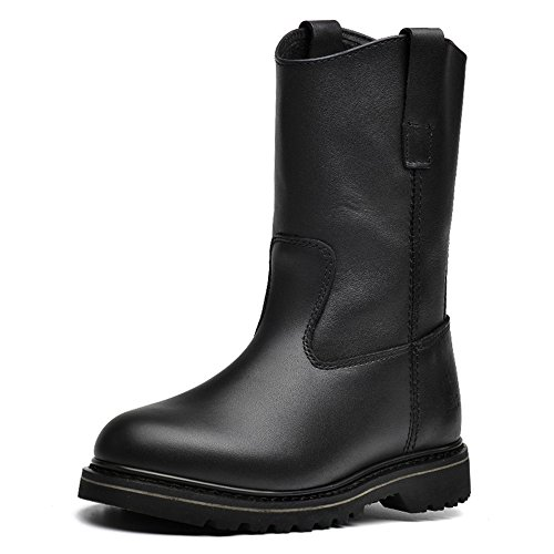 Genuine Leather Women's Motorcycle Boots Retro Fashion Slip On Industrial Work Boots by Lianjin