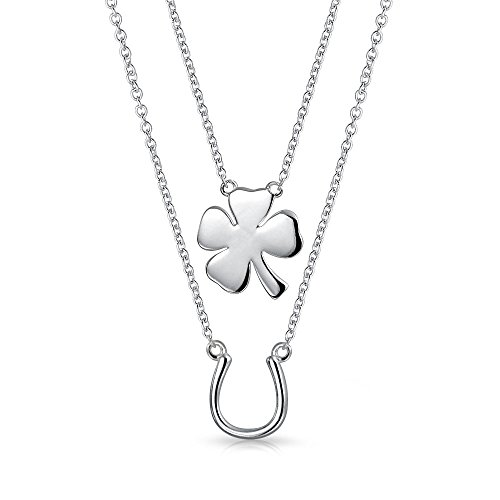 - 2 Layering Four Leaf Clover Shamrock Irish Lucky Horseshoe Pendant Necklace For Women For Teen 925 Sterling Silver