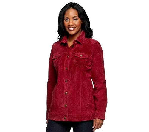 Dennis Basso Washable Suede Button Front Jacket Deep Burgundy XS New A236881 (Suede Washable Button)