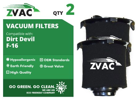 Dirt Devil F-16 Hepa Filter (2 Dirt Devil F-16 HEPA Filters Generic Part By Zvac. Replaces Part Numbers 2JW1000000, 2-JW1000-000, 950, F950 Fits: Devil Vision And Envision Wide Glide Upright Vacuum Cleaners)